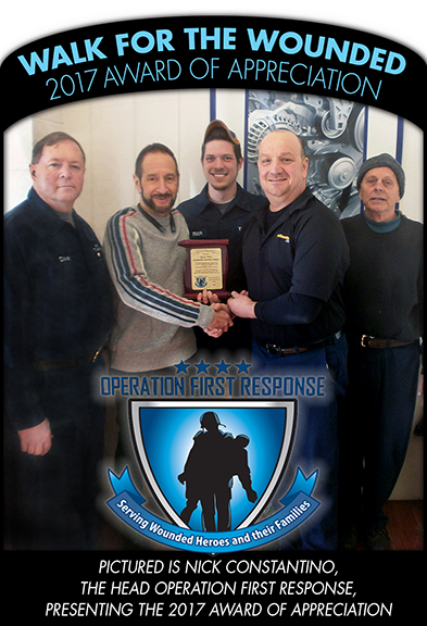 Walk for Wounded 2017 Award of Appreciation from Operation First Response, Nick Constantino