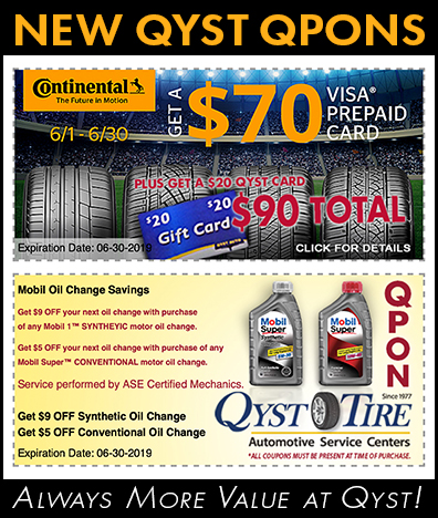 Qyst Tire Continental Tire Promo June 1 thru 30, 2019