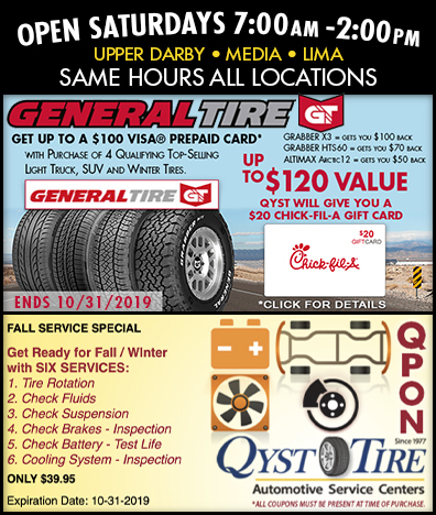 Qyst Tire General Tire Promo September 1 thru October 31, 2019