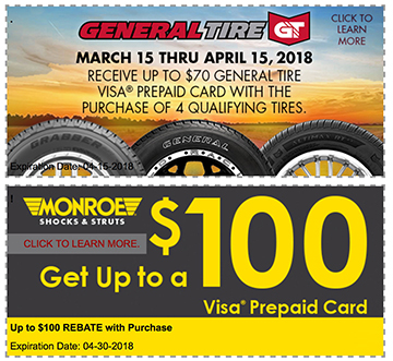 Qyst Tire New Coupons; General Tire and Monroe Shock Promotions